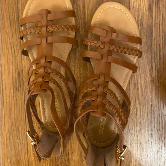 Brown leather like Sandals brand new